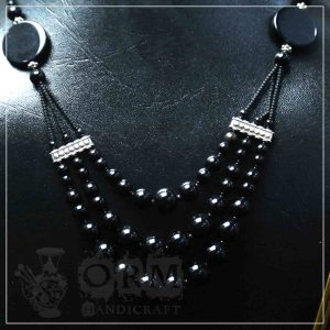 Aqeeq Black Pearl Stone Three Layer Necklace