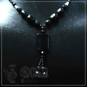 Aqeeq Black Square Stone Necklace