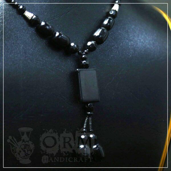 Aqeeq Black Square Stone Necklace