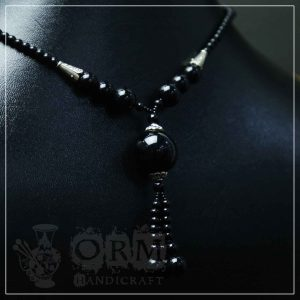 Aqeeq Black Stone Ball Style Necklace