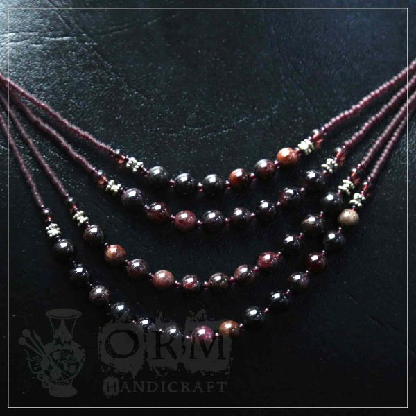 Aqeeq Brown Four Layer Necklace