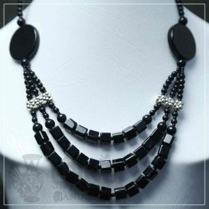 Aqeeq Stone + Crystal Black Three Layer Necklace