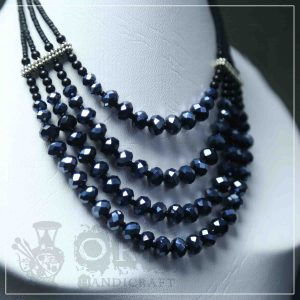 Crystal Black Four Layer Necklace