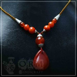 Aqeeq Brown Stone Water Drop Style Necklace