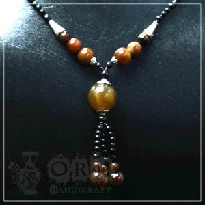 Aqeeq Brown Ball Style Necklace