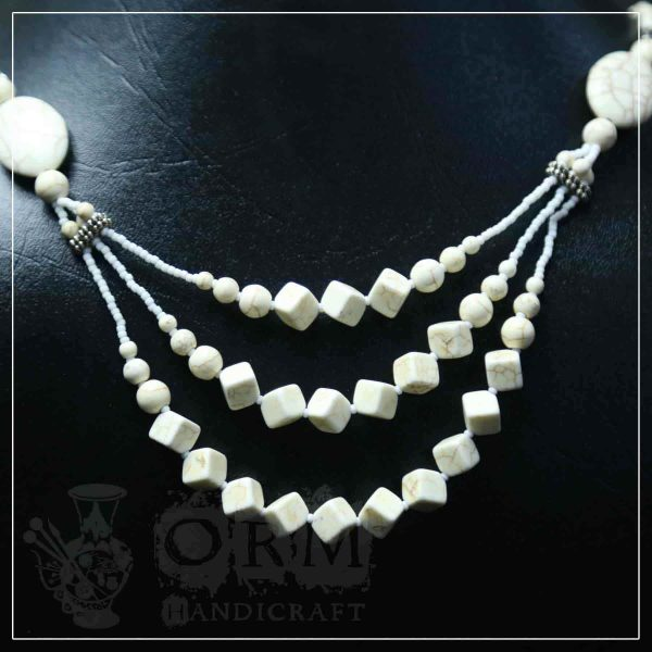 Indian Feroza Crystal Stone Three Layer Necklace