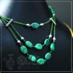 Malachite Stone Three Layer Necklace