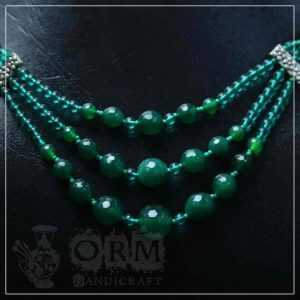 Sadaf Green Stone Three Layers Necklace