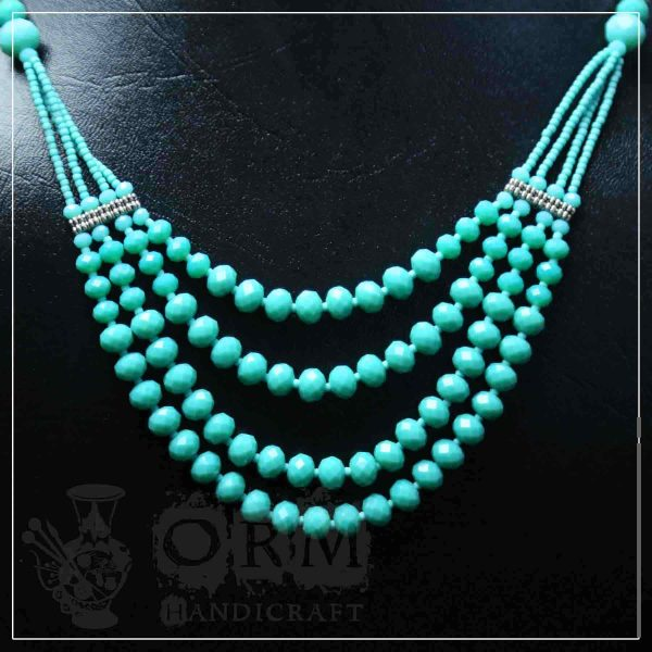 Sea-Green Crystal Four Layer Necklace