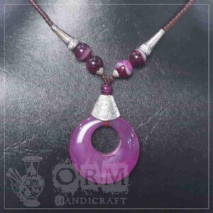 Dark Pink Stone Round Hole Locket
