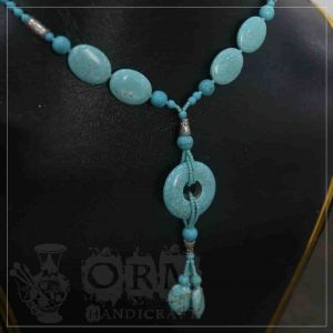 Feroza Stone Round Hole Necklace