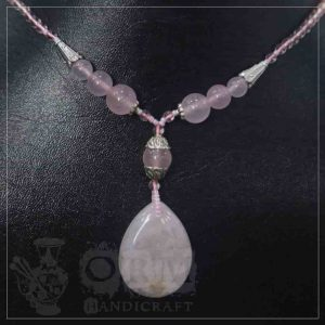 Half Pink Stone Locket Drop Style