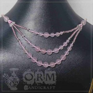 Pinkish Stone 3 Layers Necklace