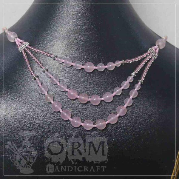 Pinkish Stone 3 Layers Necklace
