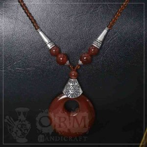 Red Stone Round Hole Necklace