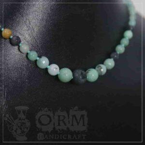 Sadaf Green & Black Stones Round Shape Necklace