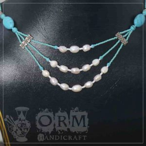 White & Blue Stone 3 Layers Necklace