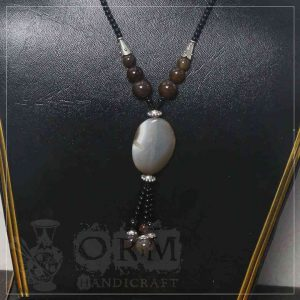 White & Brown Stone Locket