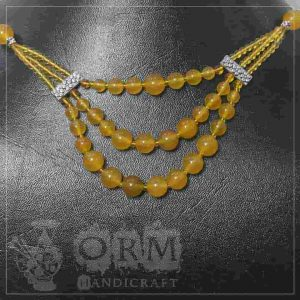 Yellow Crystal 3 Layers Necklace