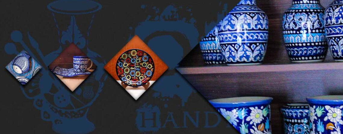 Colors of blue ceramic in Multan