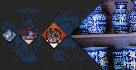 Colors of blue ceramic in Multan