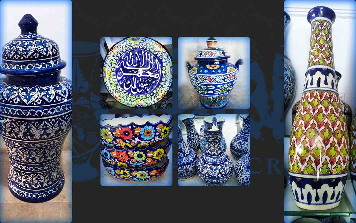Six Antiques Blue Pottery Product In Pakistan
