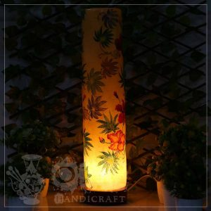 Large Camel Skin Lamp Glass (Leaf Design)